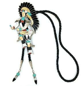 "Vintage Statement Bolo Tie by Jonathan Beyuka - ""Zuni Dancer"" w/ Multi-Gem Inlay"