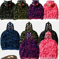 New Ape BAPE Men's Shark Jaw Camo Full Zipper Hoodie Sweats Coat Jacket