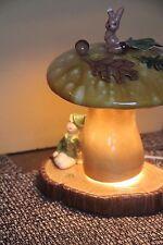 ATLANTIC VINTAGE LAMP TABLE MUSHROOM FAIRY LEPRECHAUN RABBIT WONDERLAND AS IS