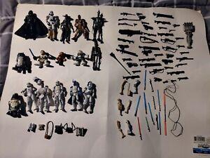 Star Wars Lot Figures Accessories Lightsabers Blasters Galactic Heroes Weapons