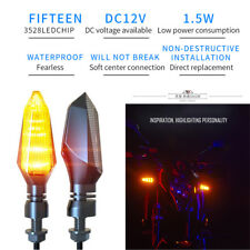 1 Pair 12V Amber Motorcycle LED Turn Signal Light Direction Indicator Assembly