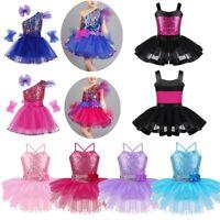 Girls Kids Jazz Sequins Dance Dress Ballet Modern Tap Stage Performance Costume