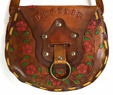 Vintage Boho Hippie Purse Shoulder Bag Flossie  Tooled Leather   By Ralph Conrad