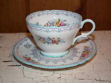 VINTAGE SHELLEY CROCHET PATTERN TEA CUP & SAUCER BLUE TRIM ENGLAND