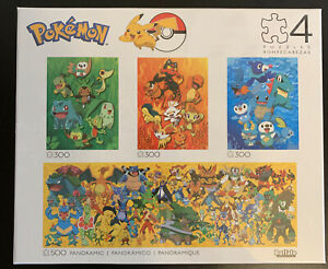 Buffalo Games POKEMON PUZZLES 4 in 1 Multipack Fire Water Grass Panoramic New