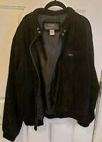 Vintage Members Only Men's Jacket Coat Size Large Black Jacket Suede Bomber 100%