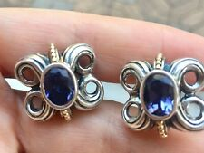 Auth LAGOS Sterling Silver,18k Gold & Amethyst Earrings for Pierced Ears