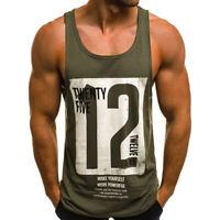 Men Gym Vest Slim Letter Printed Sleeveless Tank Top Men Bodybuilding T-shi IO