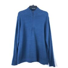 Columbia Mens Large Navy Blue Cable Knit Long Sleeve Sweater 1/4 Zip