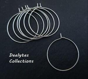300 Silver Plated Brass Lead-safe 20,25,30,35mm Earwire Hoops ~ Wine Charm Rings