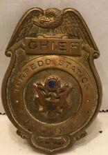 New listing Brass Chief Torpedo Station Newport Ri. Fire Badge