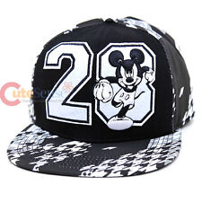 Disney Mickey Mouse Flok Emblem Sanpback Hat Trucker Flat Bill Cap Teen Adult