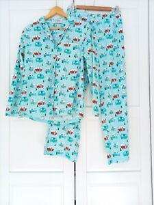 Tu Turquoise Festive Christmas Campervan Flannel Pyjamas UK12
