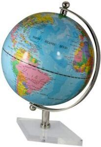 Globus mit Messing, vernickelt Fuß transparent- Farbe himmelblau 30 cm