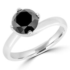 2.06 CT BLACK ROUND DIAMOND SOLITAIRE ENGAGEMENT RING 10K WHITE GOLD