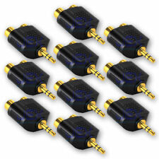 """10X Twin Female RCA to Male Stereo 1/8"""" 3.5mm Jack Adapter Audio Splitter GP LOT"""