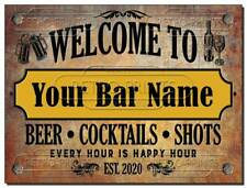 FUNNY PERSONALISED Bar Sign, Metal Tin sign/plaque man cave shed garage home pub