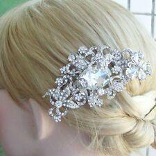 Elegant Clear Rhinestone Crystal Flower Bridal Hair Comb Hair Accessory 04907C1