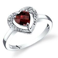 14K White Gold Garnet Diamond Heart Shape Ring 0.75 Carats Size 7