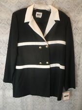 Women's Dress Jacket by Leslie Fay - Size 12 - Navy Blue/White - Polyester