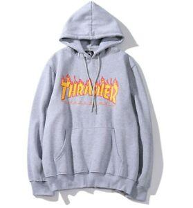 NEW THRASHER flame print plus velvet hooded sweater for men and women