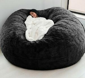 6 Foot Bean Bag Chair with Furry Fur Cover Machine Washable Big Size Sofa