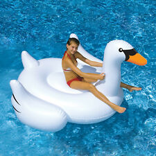 Huge Swimline Giant Inflatable Ride-On 75-Inch Swan Float For Swimming Pools