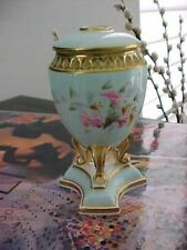 Extremely Rare 2 Piece Porcelain Pedestal Hand Painted Floral Hair Tidy Receiver