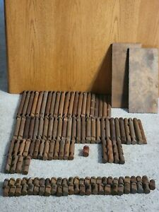 Lot of 122 Vintage Lincoln Logs - Wooden Logs (Different Sizes) and Roof