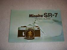 Vintage MINOLTA SR-7 CAMERA OWNER'S MANUAL, SUPER CONDITION!