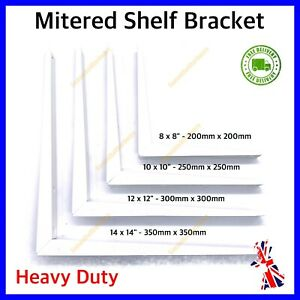STRONG Shelf Brackets 1Pair[2] WHITE Shelve Mitred Support Heavy Duty Metal