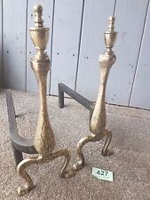 """14"""" Antique Brass And Wrought Iron Andirons Dogs Fire Basket / Log Inglenook 427"""