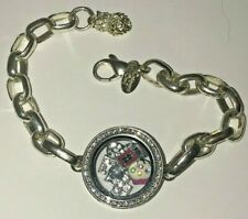 """Origami Owl Classic Silver Link Bracelet Circle Crystal & 6 Floating Charms 7.5"""""""
