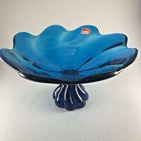 Viking Glass Epic Bluenique Swirl Comport Bowl MCM Original Sticker Vintage