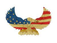 Zeckos Hand Carved Intarsia American Bald Eagle Wood Art Wall Hanging