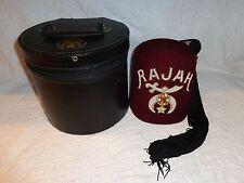 Masonic Shriners Lodge Jeweled RAJAH Temple Fez Tasseled Hat with Case