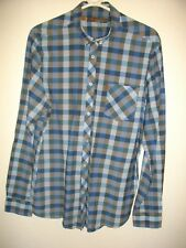 NEW * BEN SHERMAN * BLUE CHECK SLIM FIT BUTTON DOWN COTTON SHIRT SIZE LG RRP £75