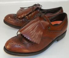 Dexter Mens US 8.5 D Brown Leather Lace-Up Oxford Kiltie Wing Tip Golfing Shoes