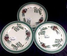 "Set of 3 LL Bean Evergreen 11"" Dinner Plates Lot"