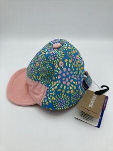 Patagonia Baby Baggies Cap NWT Baseball Hat Girls 6 Month Tencel Bloom Joya Blue