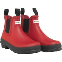 LADIES HUNTER ORIGINAL CHELSEA RED WELLIES WELLINGTON ANKLE BOOTS SHOES UK 3