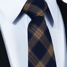 SALE - Navy Blue & Brown - Tartan Mens Tie Gift Check Necktie Woven  Wool Blend