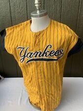 Vintage Starter New York Yankees Yellow Striped Jersey Shirt Mens Large
