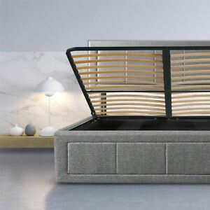3ft Single Double 4ft 6 King Size 5ft Grey Frame Ottoman Bed Gas Lift Up Storage