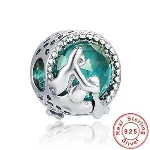 Charms Bead Anhänger Meerjungfrau Wasser Meer Liebe Herz für Pandora Silber 925