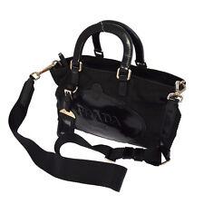 Authentic PRADA Logos 2way Hand Tote Bag Black Nylon Leather Italy VTG R11433