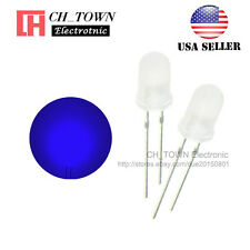 100pcs 5mm Diffused White Color Blue Light Round Top LED Emitting Diodes USA