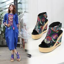 Womens Embroidery Floral Straps Open Toe Sandals Platform Chunky High Heel Shoes