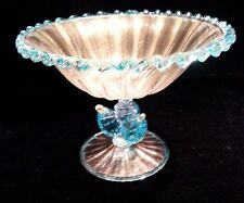 MURANO Barovier & Toso Plums Fruit Gold Fleck Art Glass Compote Pedestal Dish