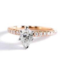 0,75 Ct Si2 H Corte Pera Francés 6 Pinza Diamante Pavé Anillo de Compromiso